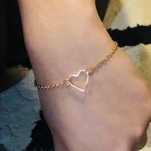 Handmade Heart Gold Tone Bracelet